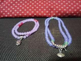 天然紫玉髓長手鍊2件一起賣(可當項鍊)