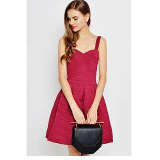 LAB CELESTINE BANDAGE FLOUNCE DRESS WINE