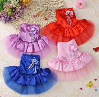 🚚 BN Hari Raya Special Satin Tulle Dress with Brooch Pets Cats Dogs Dress