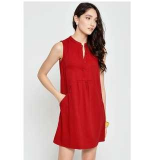 LAB ARISSA BUTTONDOWN DRESS WINE