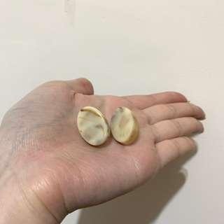 🚚 韓國簡約橢圓耳環 樹脂大理石耳環