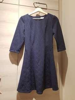 Blue printed lace elegant dress
