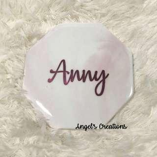 Personalized/Customized Marble Pink Coaster (Octagon)