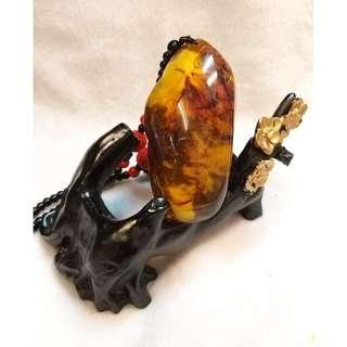 🚚 天然黃金琥珀吊墜項鍊