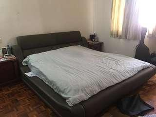 Leather bed frame + king size mattress