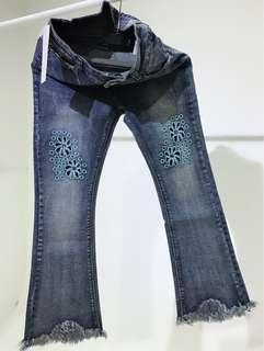 藍色花花喇叭牛仔長褲