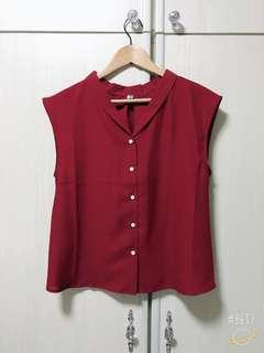 V collar red top-made in Korea