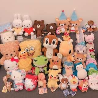 出清降價 全新娃娃 大耳狗 鸚鵡兄弟 kitty 拉拉熊 寶可夢 LINE熊大 史黛拉兔 旅行青蛙 奇奇 海綿寶寶
