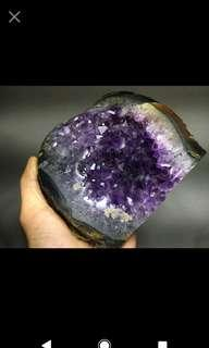 🚚 天然烏拉圭瑪瑙邊深紫晶,內凹聚財~收藏等級