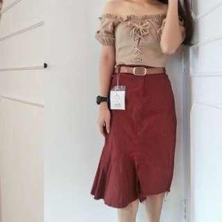 Dark Maroon midi skirt