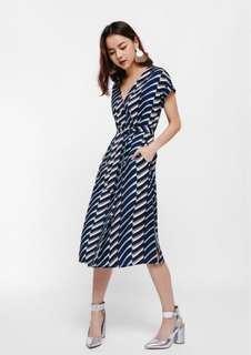 BNWT Love Bonito Mich Stripe Print Wrap Button-Up Dress