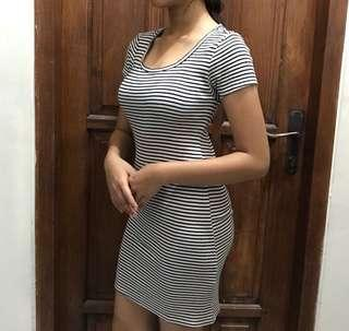 stripped dress fit body