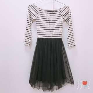🚚 PAZZO 條紋拼接紗裙洋裝