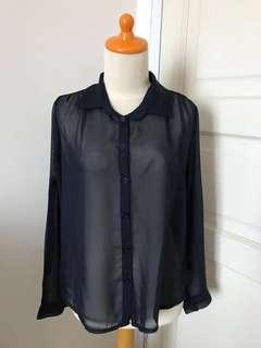 Navy Blue Sheer Chiffon Shirt