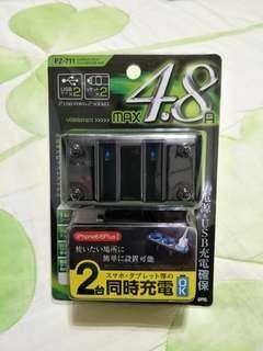 🚚 (代售,九成新)【日本YAC】4.8A雙孔雙USB延長插座 PZ-711 (擴充器|充電器)