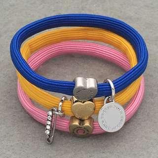 Marc Jacobs Sample Hair Band Bracelets 銀色閃石扣針橡筋組合可以作為手鍊 HA194