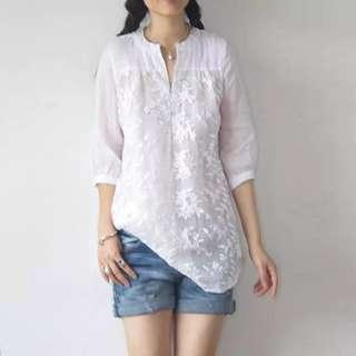 🚚 [PO] Embroidered Floral White Blouse (35)