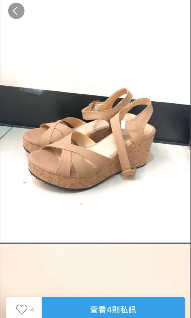 裸粉楔型涼鞋