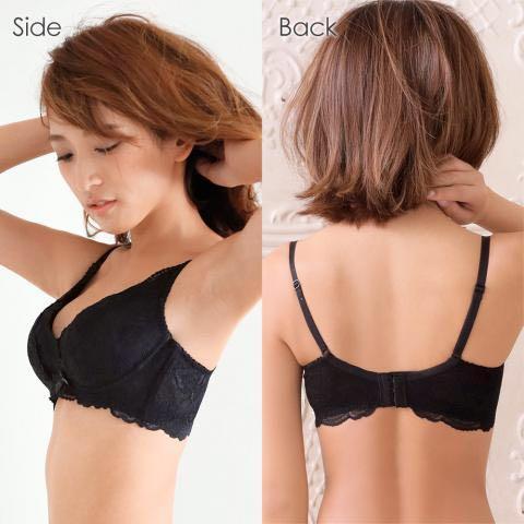日本購入 Aimerfeel 高脇邊素色蕾絲內衣 超包副乳 舒適胸罩 育乳內衣 蕾絲交叉包覆 黑 pj QMOMO 超盛