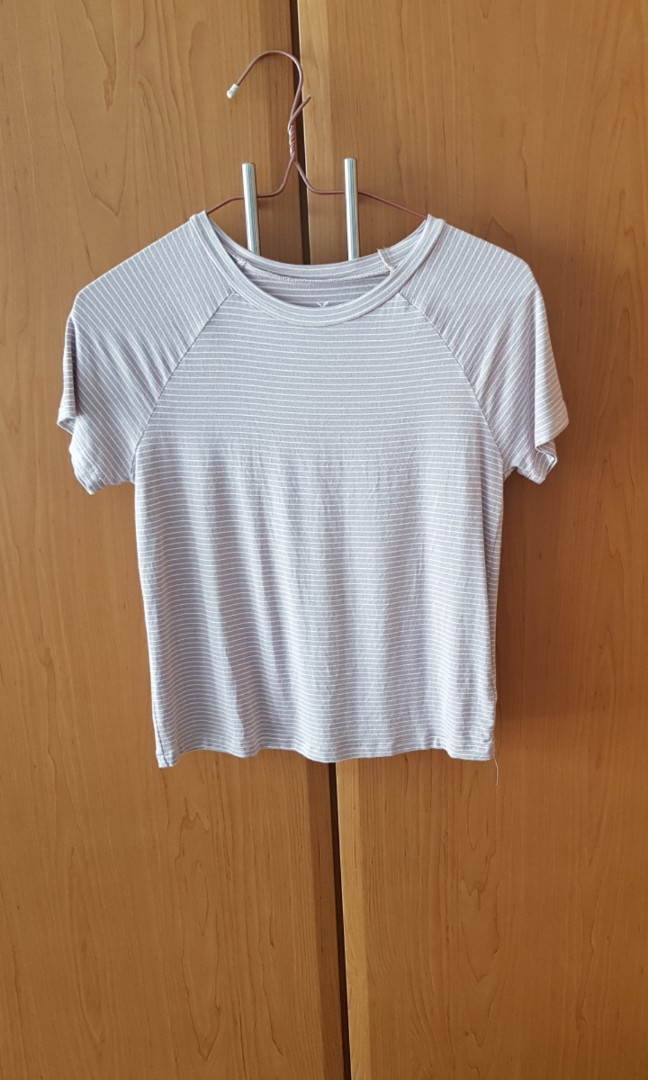 22992a87 American eagle outfitters AEO Light pink and white striped soft and ...