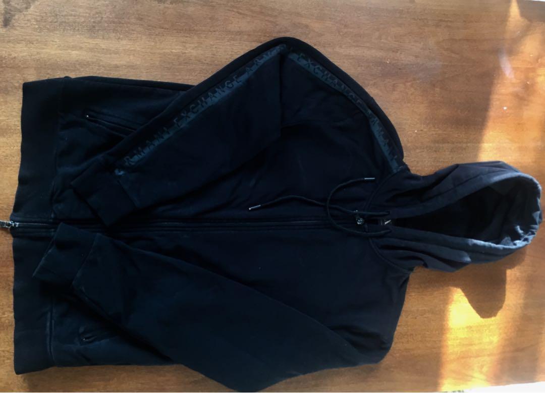 ARMANI EXCHANGE Unisex Full Zip Front Jacket in Black Cotton