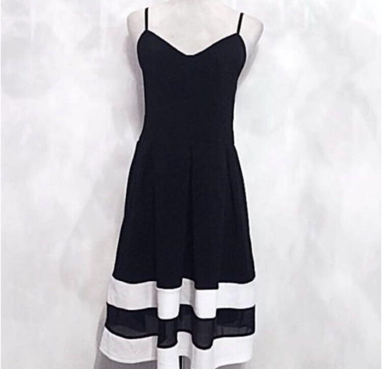 b4bf8d5dce34 Black & White Mesh Hem Stripe Midi Skater Skirt Dress, Women's ...
