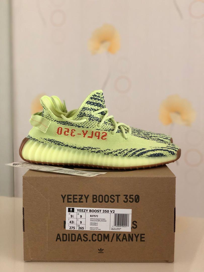 f5cf0b550cc6c BNIB Adidas Yeezy Boost 350 V2 Semi Frozen Yellow US9.5