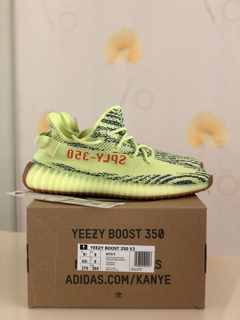 7ebb2dd19 BNIB Adidas Yeezy Boost 350 V2 Semi Frozen Yellow US9.5