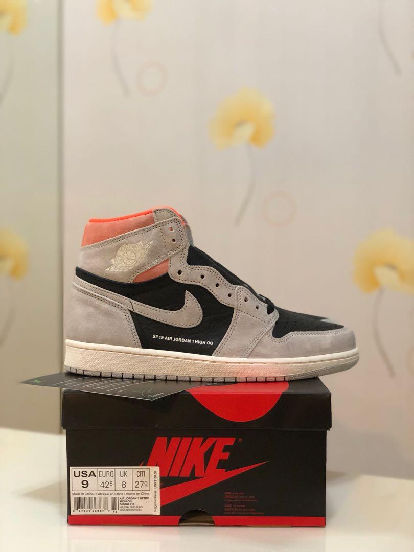 da3035a237f BNIB Nike Air Jordan 1 Retro High OG Neutral Grey Hyper Crimson US9 ...