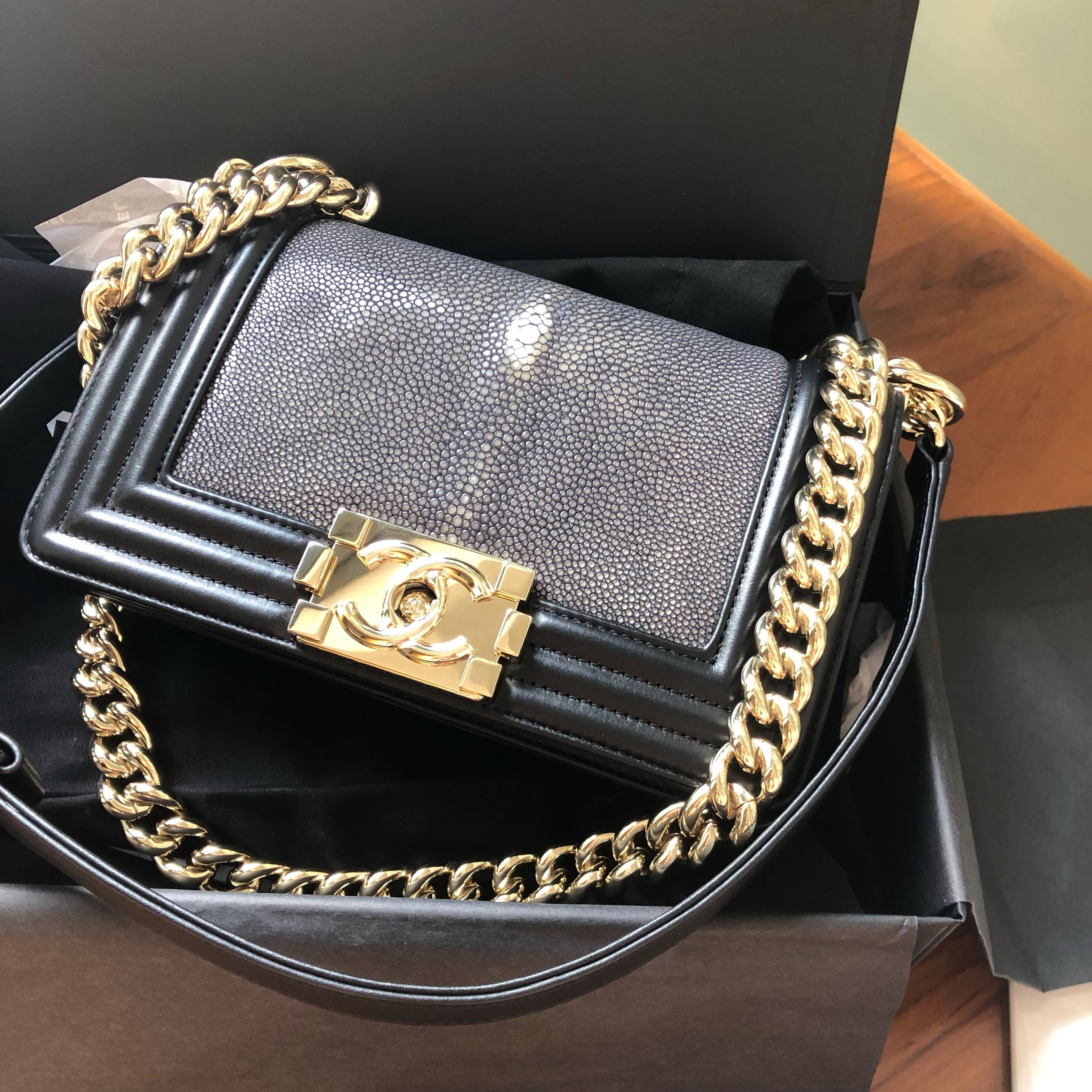 074f3350bb5d Brand new Chanel boy mini (stingray), Luxury, Bags & Wallets, Handbags on  Carousell