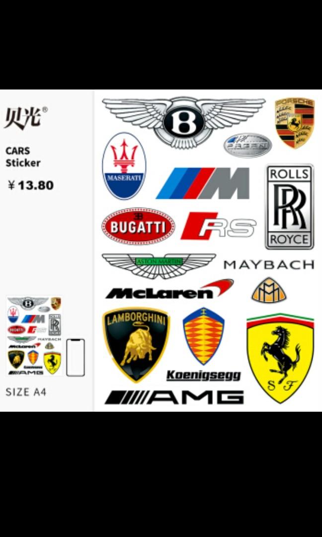 Car Brand Logo Sticker Sheet Motorbikes Motorbike Accessories