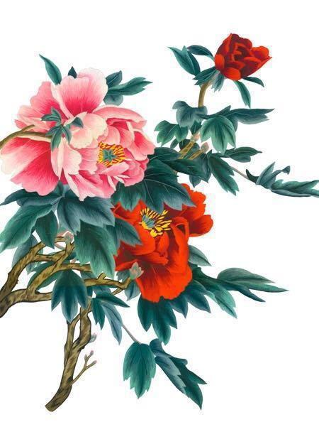 Cross stitched Kit Flower 十字绣 牡丹花