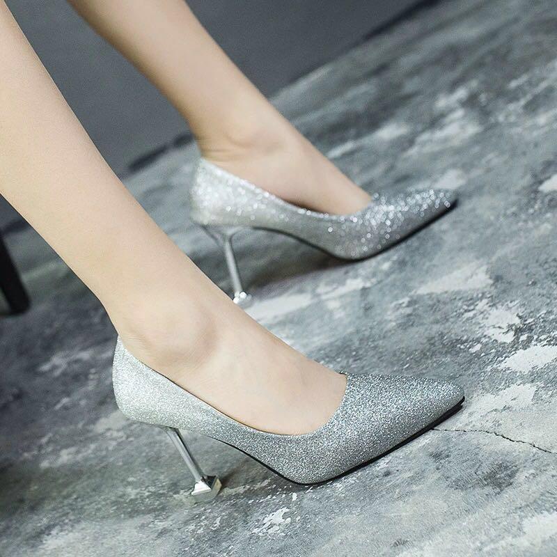 60191a097cd Elegant glitter silver bridal evening Heels