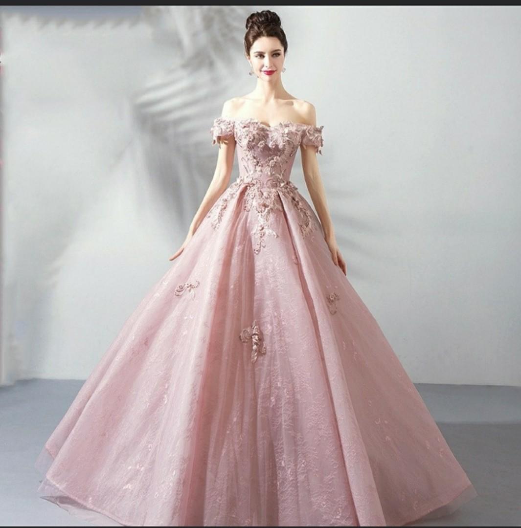 Evening Gown Wedding Gown Lotus Pink Ladies Flower Fairy Bride Dress