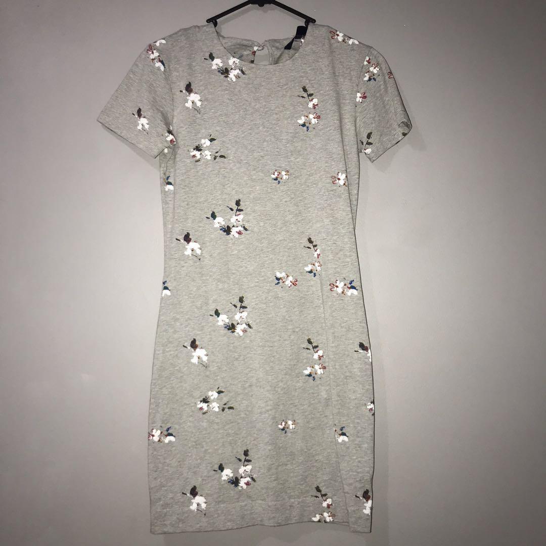 Grey Floral Tshirt Dress