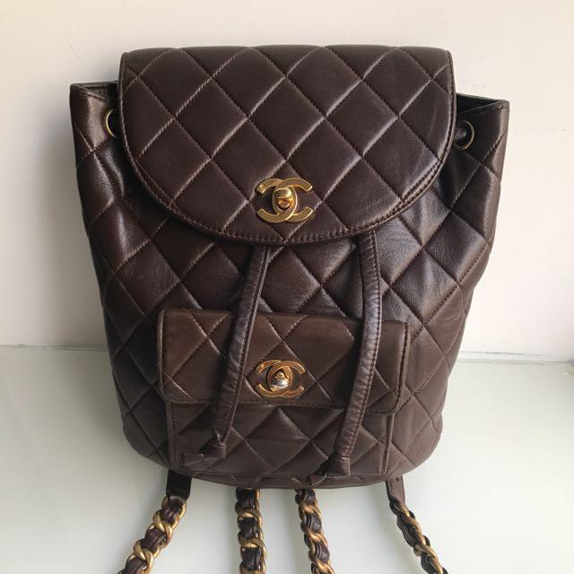 #MILAN01 Chanel Vintage Backpack in Brown 背包