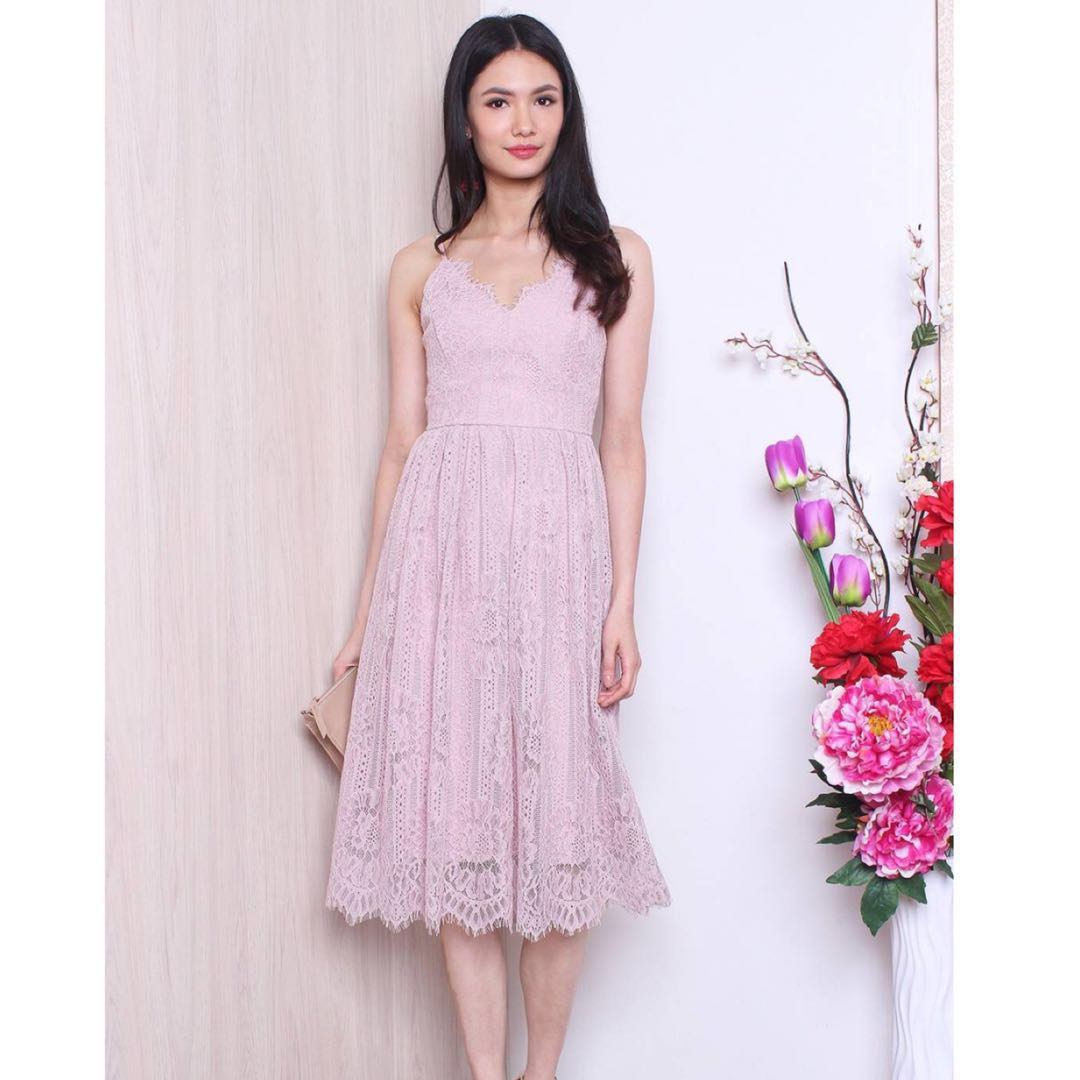 5734572225c Neonmello Flyers Lace Trimming Spag Dress