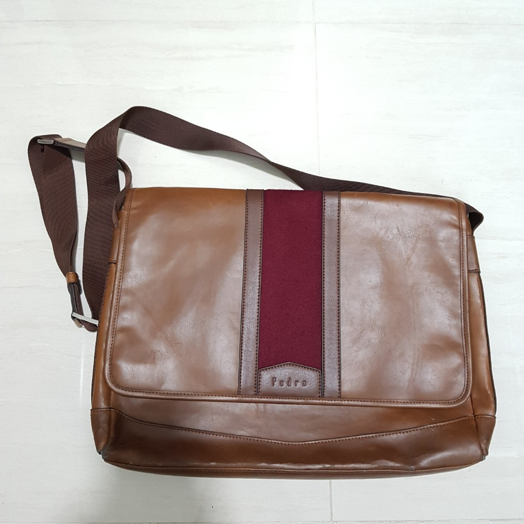 665d9d6093 Pedro Synthetic Leather Dark Brown Sling Bag