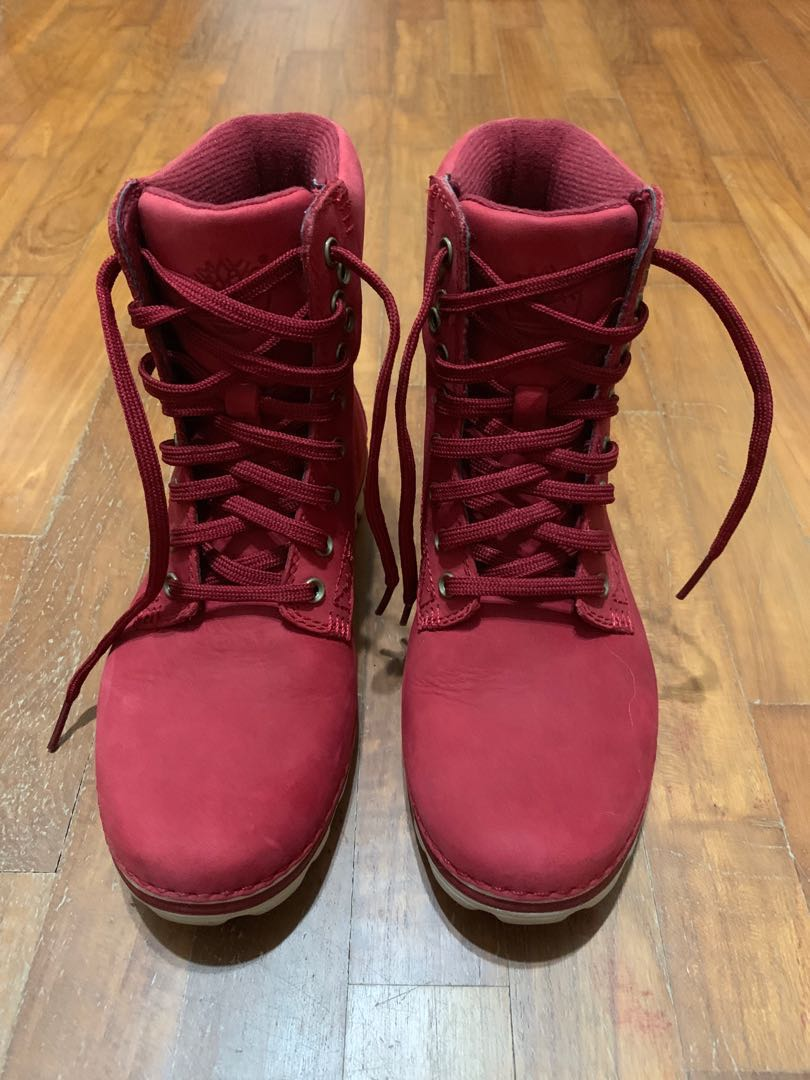 Timberland Red Boots, Women's Fashion