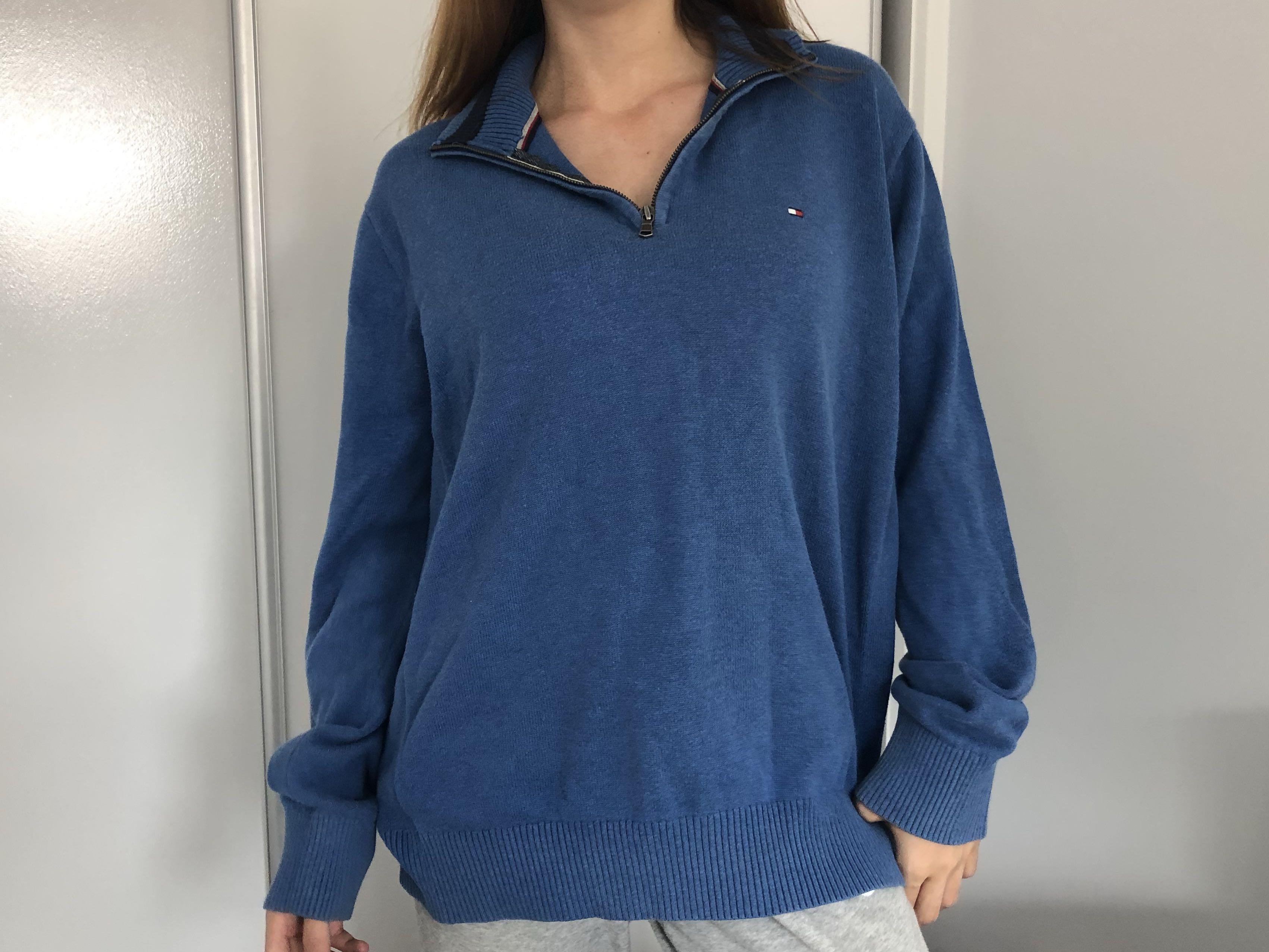 tommy hilfiger blue pullover jumper