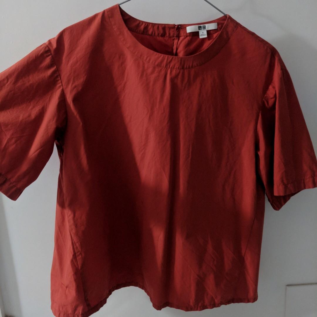 UNIQLO - Short Sleeve Flare Blouse - Size S - Extra Fine Cotton