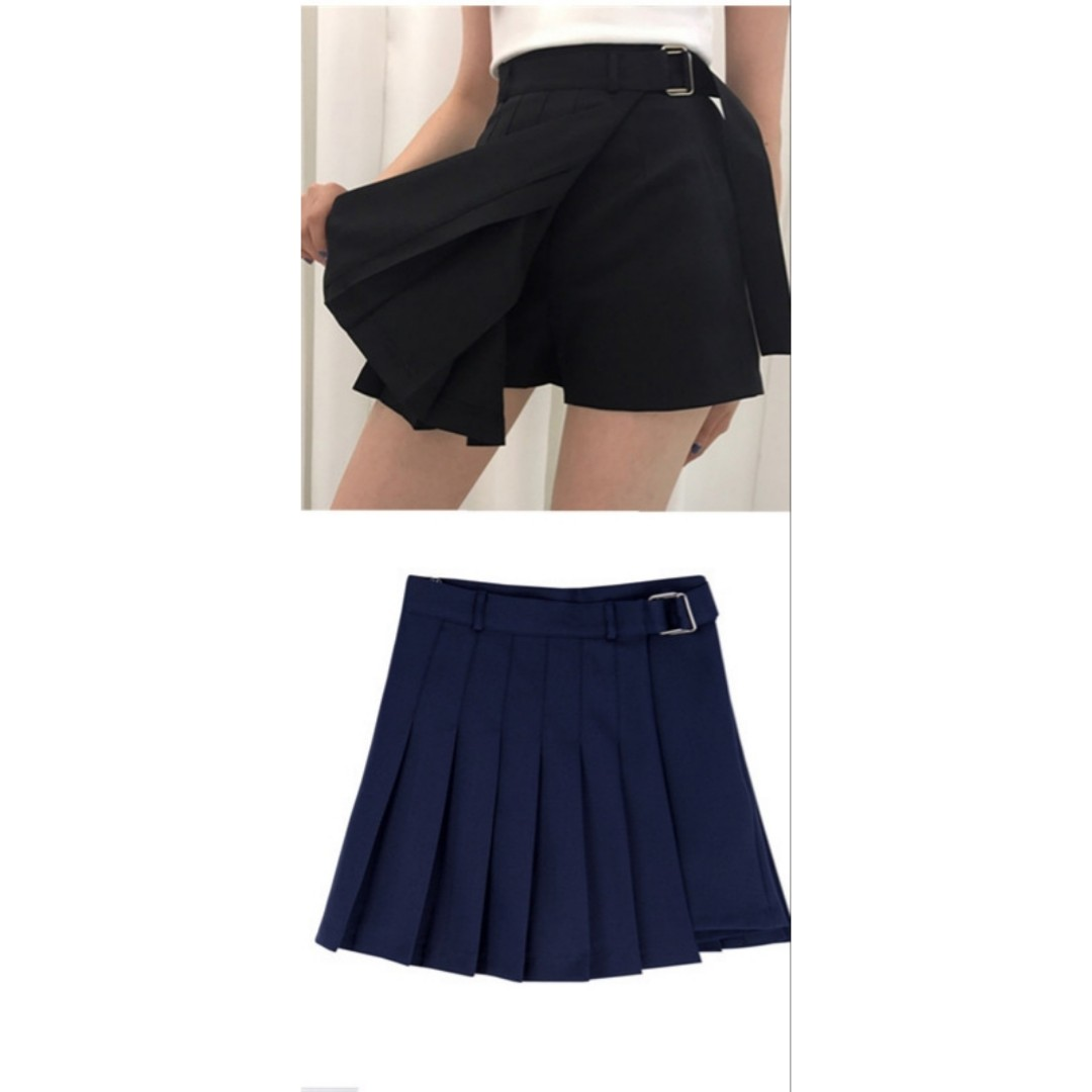 6b9ee157cf Uzzlang edgy street style irregular pleated skirt with shorts ...