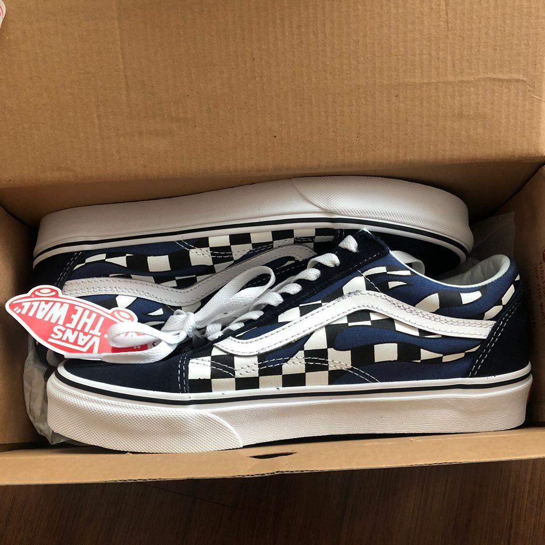 4f783a20 vans old skool navy checkerboard flame, Women's Fashion, Shoes ...