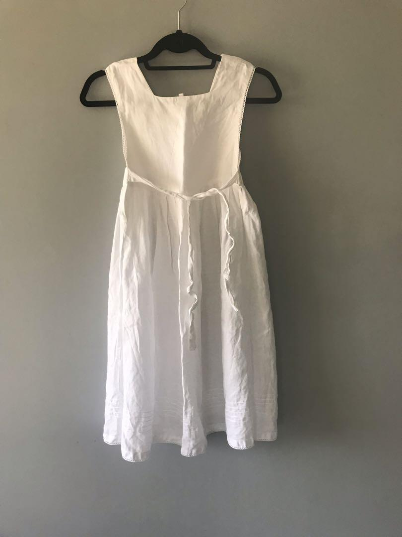 White linen babydoll dress