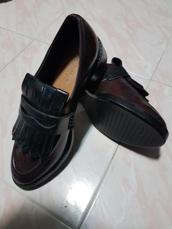 71a0d53ed50 Zara Cognac Brown Trafaluc Fringe Loafers