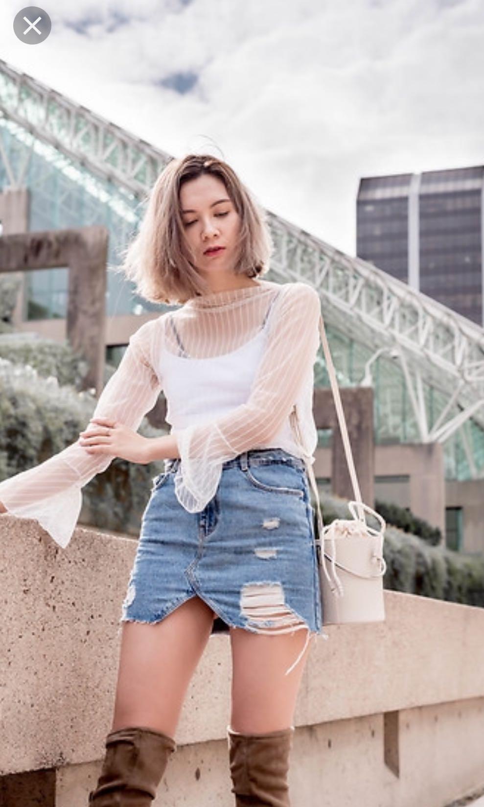 4b22962617 Zara Ripped Denim Skirt
