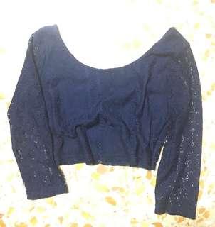 ❗️SALE ❗️ HH Navy Lace Crop Top