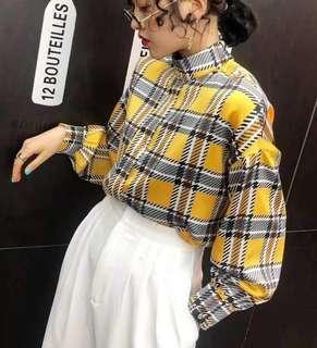🚚 韓國復古風格子襯衫