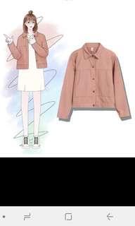 Pink denim jacket, korean style