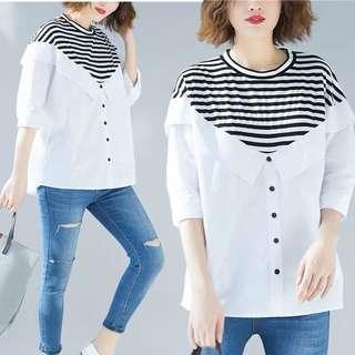 🚚 Plus size black and white striped seven-point sleeve shirt loose stitching ruffled bat sleeve round neck top